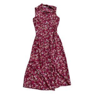 Maroon 90's Floral Maxi Dress